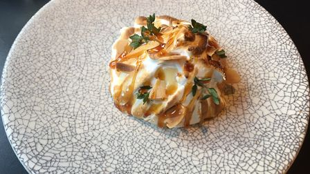 Golden plum baked Alaska with honey, thyme and almonds Picture: Archant