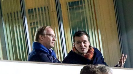 Owner Marcus Evans and Head of Football Operations Lee O'Neill watch on as the Blues beat Rotherham