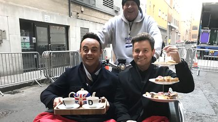 Nick Corke chief executive of Hour Community, with Ant and Dec on the trishaw Picture: NICK CORKE