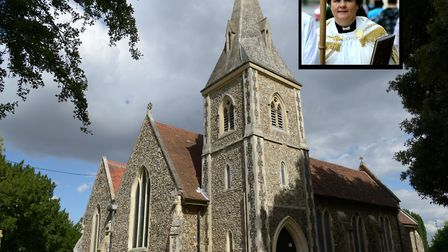 St Mary and St Botolph parish church in Whitton, Ipswich, which was broken into. Inset is Revd Mary