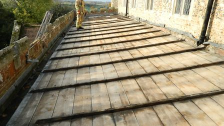 Lead was stripped from the roof of St John's Church in Elmswell in November 2017 Picture: PETER GOO