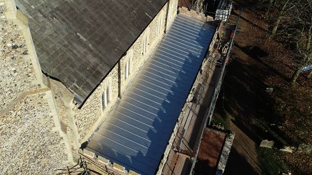 The new stainless steel roof at St John's Church in Elmswell, which was completed in November Pictur