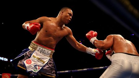 Fabio Wardley hurts Phil Williams to the body in their fight at the 02 in December. Picture: PA SPOR