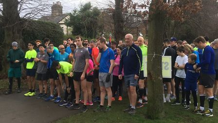 Runners line-up for the start of last Saturday's Harrow parkrun. Picture: CARL MARSTON