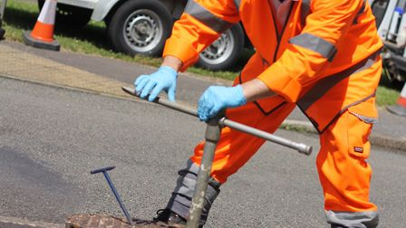 An Anglian Water team at work detecting and repairing leaks. The company is investing �900,000 in pi