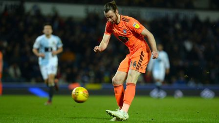 Will Keane puts in a cross at Ewood Park. Picture: Pagepix