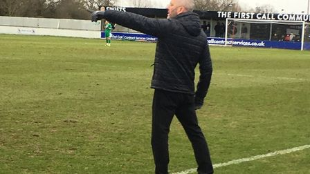 Heybridge Swifts boss Julian Dicks points the way for his players during the 2-0 win over AFC Sudbur