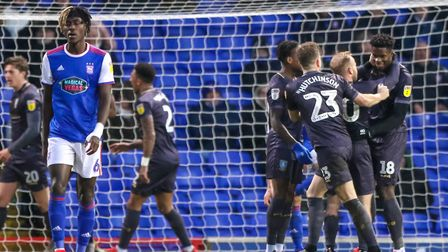 Sheffield Wednesday celebrate Lucas Joao's (18) late winner in the 1-0 victory over Ipswich Town.