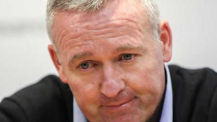 Town manager Paul Lambert talks to the press following the Ipswich Town v Sheffield Wednesday defeat