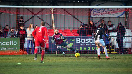 SAVE: Goalkeeper Jack Spurling was in fine form for the Seasiders, saving this effort from The Swift
