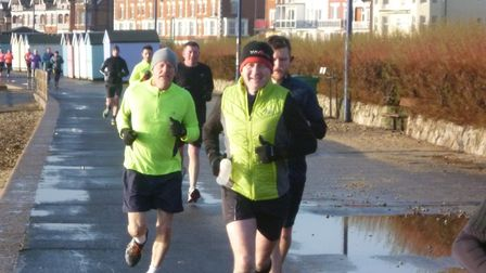 Runners make their way along the flat 5K course on Felixstowe seafront during Saturday's Felixstowe