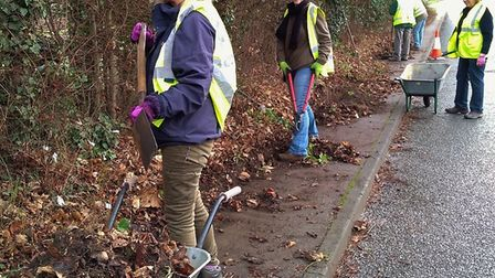 Volunteers clear footpath in Kelsale next to where sandy stiltball fungus has been discovered Pictur