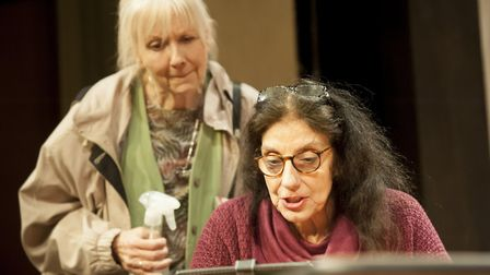 Liz Crowther as Megan and Souad Faress as Rani in The Wisdom Club which is being premiered at Bury T