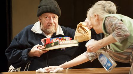 John Branwell as Lenny and Liz Crowther as Megan in The Wisdom Club which is being premiered at Bury