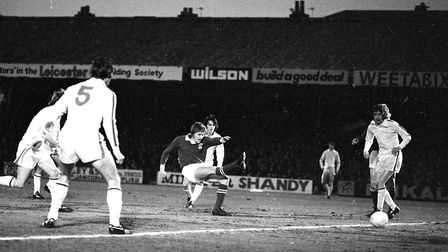 Trevor Whymark taking a shot that would be an important goal in Ipswich Town's FA Cup title run in 1