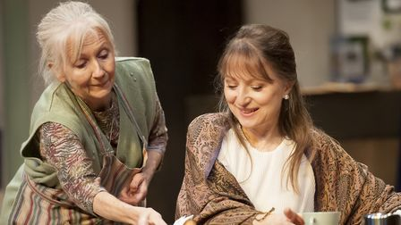 Liz Crowther as Megan and Carol Starks as Susanna in The Wisdom Club which is being premiered at Bur
