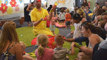 A children's theatre event at Ipswich Library with 'Wonderful Beast' last year. Picture: SUFFOLK LIB