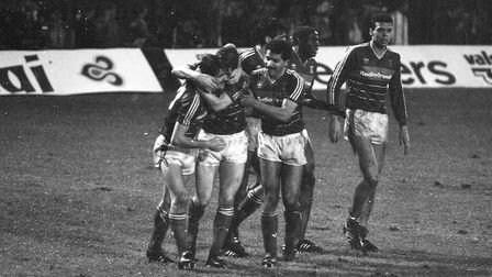 Town players celebrate as the Blues beat Liverpool 2-1 at Portman Road in 1986