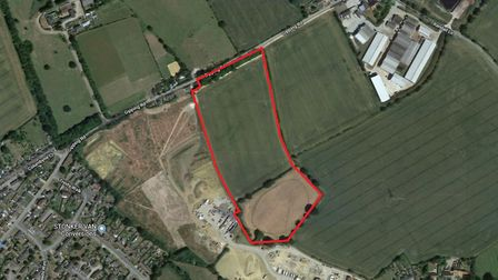 The land south of Gipping Road, Stowupland, subject to a planning application for 70 homes. Picture: