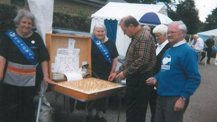 Bill's Pick a Peg sideshow. It raised lots of money for West Suffolk Headway over the years Pictru