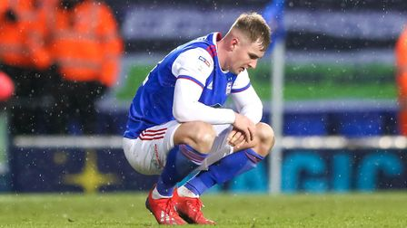 James Bree pictured at the final whistle in the defeat by Sheffield Wednesday. Picture: STEVE WAL