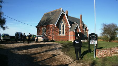 Police at the scene of the accidenton the Essex/Suffolk border Picture: PAUL GEATER