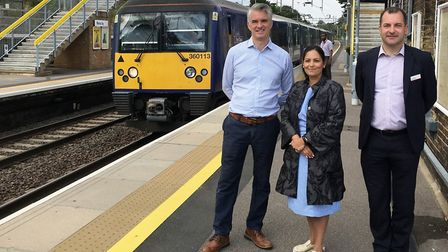 South Suffolk MP James Cartlidge, Priti Patel and Jamie Burles at Marks Tey station which is becomin