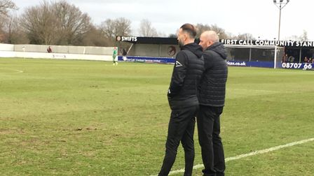 Heybridge manager, Julian Dicks, right, discusses tactics with his assistant Karl Duguid during toda