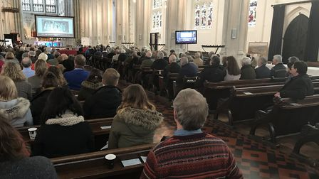 Crowds gather at St Edmundsbury Catherdral to hear the results of two studies which have taken place