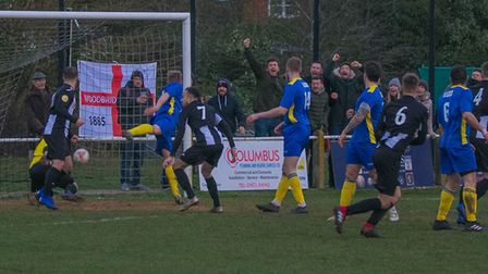 WoodbridgeTown fans celebrate as Jake Green scores to make it 1-1 against Histon. Picture: PAUL LEE