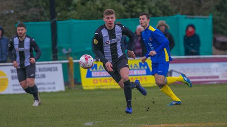 Taylor Southgate was at the heart of everything for Woodbridge Town. Picture: PAUL LEECH