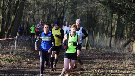 Runners tackling the Haughley Park course at the third race in the Suffolk Winter League. Picture: S