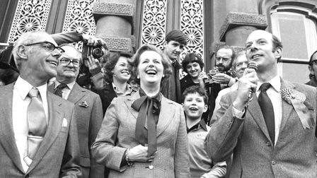 Margaret Thatcher and husband Denis on the steps of Ipswich Town Hall during campaigning for the 197
