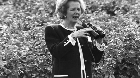Mrs Thatcher among the blackcurrants at Rose Cottage Farm, Rivenhall, near Witham, in 1987. Picture: