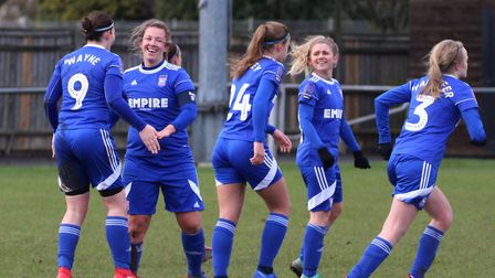 Town players celebrate going 2-0 up against Cambridge Picture: ROSS HALLS