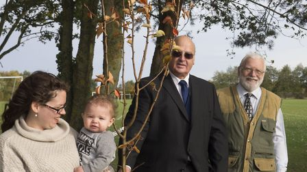 Malandra Mortlock (far left) and her son Zeke join Mid Suffolk District Council leader Nick Gowrley