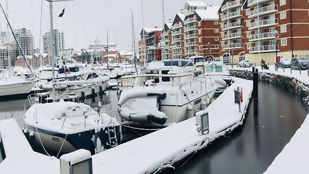 Ipswich Waterfront during the 'Beast from the East' last year. Heavy snow could hit Suffolk and nort