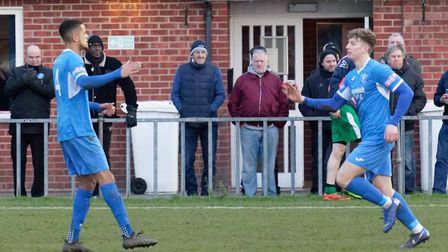 William Davies about to be congratulated by Noel Aitkens after netting his first-ever goal for Leist