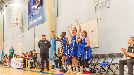 The Ipswich bench erupt on the way to victory over Sevenoaks. Picture: PAVEL KRICKA