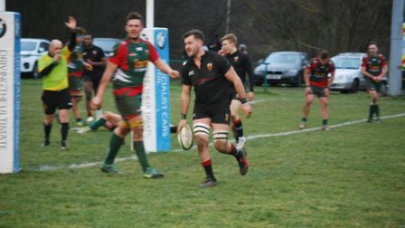 Harrison Pickett runs in a Colchester try in their 54-17 win at Luton. Picture: MAGGIE WHITEMAN
