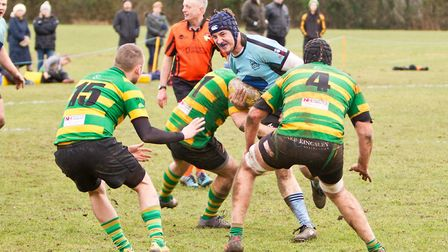 Woodbridge flanker Archie Walker on the carry against the Crusaders. Picture: SIMON BALLARD