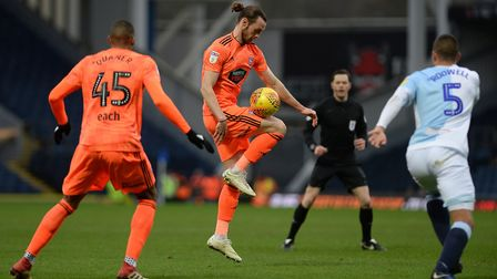 Will Keane controls the ball at Ewood Park. Photo: Pagepix
