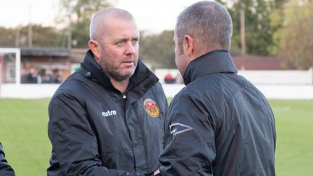 Heybridge Swifts boss Julian Dicks shakes hands with then-Felixstowe's joint manager Kevin O'Donnell