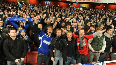 Ipswich Town fans at the Emirates Stadium as the Blues were knocked out of the League Cup semi-final