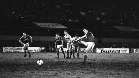 John Wark scoring one of his two goals as the Blues beat Watford 5-2 at Portman Road in 1988