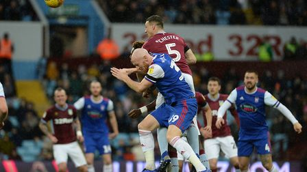 James Collins challenges James Chester for a second half header Picture Pagepix