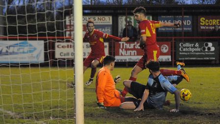 Needham go in search of an equaliser against St Neots - but it wasn't to be. Picture: BEN POOLEY