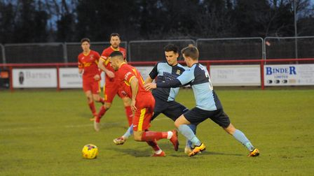 Needham's Luke Ingram tries to create an opening against St Neots. Picture: BEN POOLEY