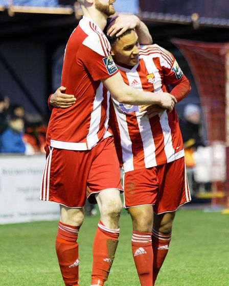 Miles Powell, left, and Rhys Henry enjoy Felixstowe's winner against Great Wakering. Picture: STAN B