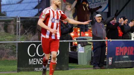 Seasiders fans react after Miles Powell scored the winner against Great Wakering. Picture: STAN BAST